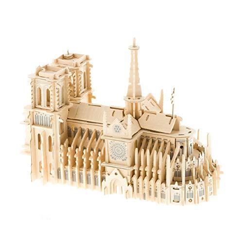 LeKing Notre Dame de Paris Catedral 3D rompecabezas Kit de construcción de maqueta de rompecabezas de madera de la famosa arquitectura del mundo DIY juguetes de montaje