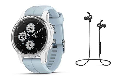 Garmin GPS-Multisport-Smartwatch Fenix 5S Plus - 42mm – Music-Player mit 500 Songs - 24/7 Herzfrequenzmessung am Handgelenk, vorinstallierte Sport-Apps, integriertes GPS, Mobile Payment via NFC - Armband: Weiß, Gehäusegröße: 42mm, Gehäusefarbe: Silber/Weiß, inkl. Bluetooth Headset