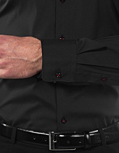 Vincenzo Boretti Herren-Hemd Body-Fit (Besonders Slim-Fit Tailliert) Uni-Farben Bügelleicht - Männer Lang-Arm Hemden für Anzug mit Krawatte Business Hochzeit Freizeit Schwarz/Weinrot