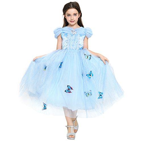 (Katara 1758-134/140 - Prinzessin Cinderella Schmetterlings-Kleid mit Tüll-Rock - Dieses Blumenmädchen Fee-Kostüm Passt mit Stola, Glitter, Strass Perfekt Zur Hochzeit, Konfirmation, Karneval, blau)