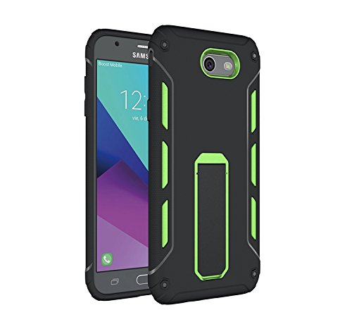 YHUISEN Galaxy J7 2017 Case, Cool Shockproof Rüstung Hybrid 2 In1 TPU und PC Rugged Dual Layer mit Kickstand Case für Samsung Galaxy J7 2017 ( Color : Green ) Green