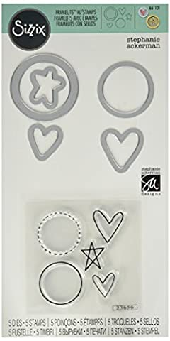 Ellison Sizzix Circles, Icons, Hearts and Star Framelits Die Set with Stamps by Stephanie Ackerman (5