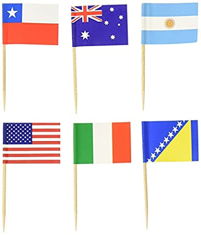PuTwo Toothpicks Pack of 100 World Flags Cocktail Sticks for International and Ethnic Events, Food Picks for Parties, World Cup and Olympic