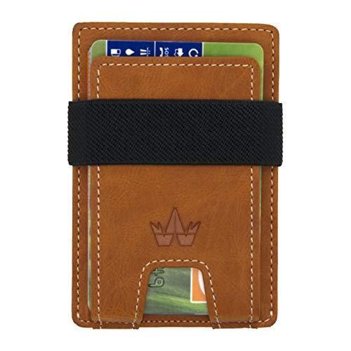 wanart kleine Geldbörse mit Münzfach für Damen und Herren - mini Portemonnaie für bis zu 10 Karten und Scheine - slim Kartenetui mit RFID Blocker - small Wallet, Geldbeutel braun -