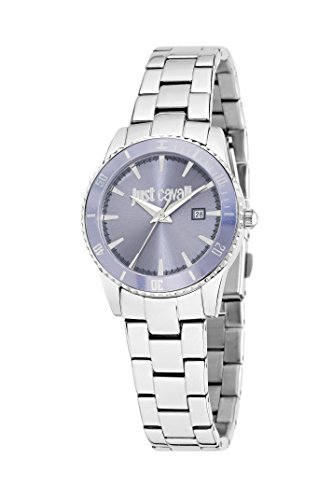 Just Cavalli Just In Time Women's Quartz Watch with Purple Dial Analogue Display and Silver Stainless Steel Strap R7253202505