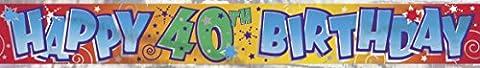 Unique Party - 90024T - Banderole Anniversaire - Happy 40th Birthday - 3,6 m