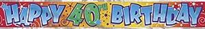 Partido Ênico 12 pies Foil Feliz 40 cumpleaños Banner
