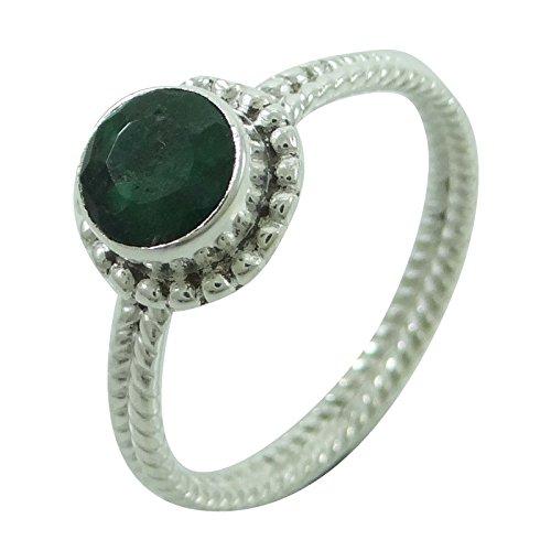 925 Sterling Silber Smaragdring Frauen Tragen Indischen Modeschmuck Geschenk