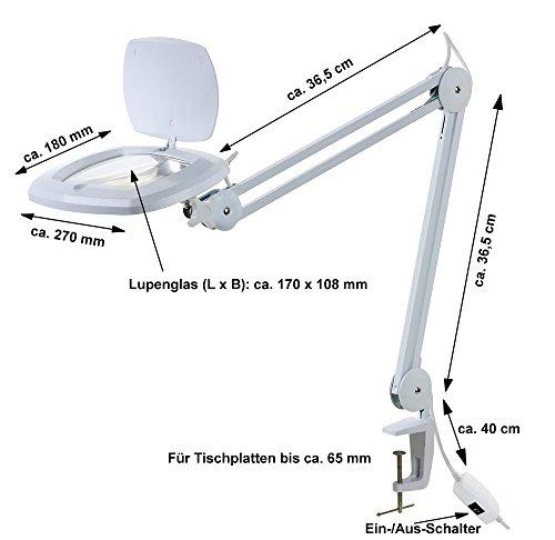 edi-tronic LED Lupenleuchte 3 Dioptrien Arbeitsleuchte Lupenlampe Lupe Kaltlicht 80 LED´s -