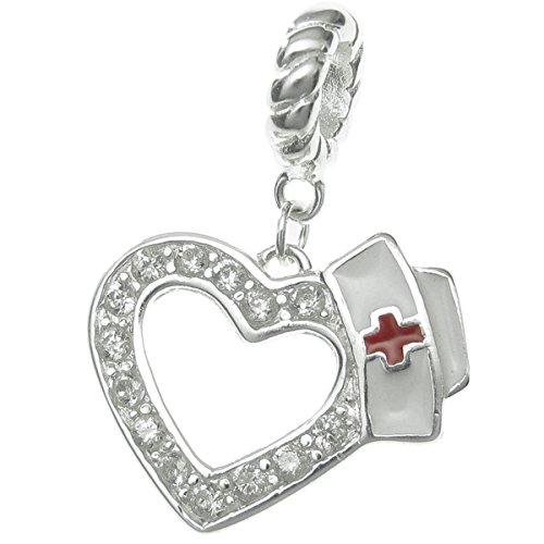Plata de Ley 925, amor enfermera rojo Cruz Esmalte CapczCrystal, cuentas colgantes para pulseras de abalorios europeas