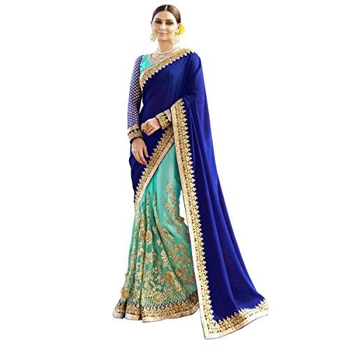 Aagaman Fashions Wonderful SkyBlue Farbige gestickte Super Net Chiffon Partywear Saree (Top Perlen Georgette)