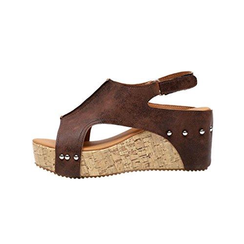 VJGOAL Damen Sandalen, Damen Mode Roman Sommer Runde Zehe Breathable Rivet Strand Boho Casual Wedges Schuhe, 7cm (39 EU, Braun)