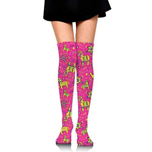 cvbnch Kniestrümpfe lange Socken Festive Pink Pinata Knee High Socks Fun Crazy Cute Best Long Socks,Running Athletic Sports Boot Stocking