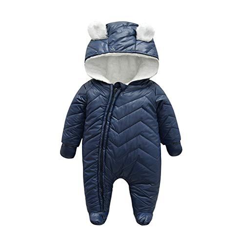 UFODB Daunenanzug Baby Mädchen Jungen Unisex Schneeanzug Strampler Mit Kapuze Quilted Pramsuit Outdoor Overall Winter Snowsuit Mantel Romper Jumpsuit Outfits 0-24 Monat