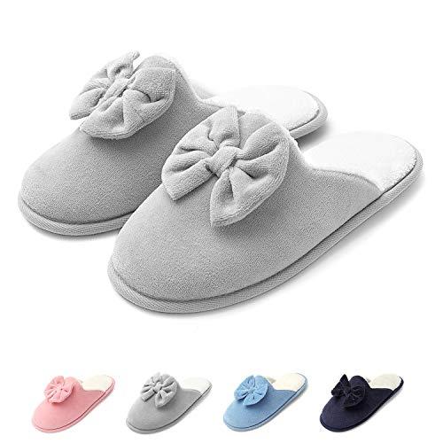 Zapatillas de casa Mujer, Ultraligero cómodo y Antideslizante, Zapatilla de Estar por casa para Mujer Lazo Adornado, Gris Bicolor, 38/39 EU