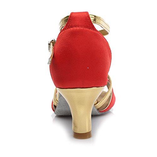 Da Centimetri Ballo 5 Per Rosso Le Latino Da Donne Ballo Modello Hroyl Scarpe Scarpe Raso 255 aqz46x5wOw