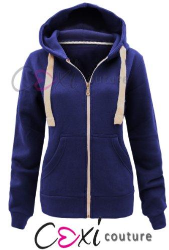 CEXI COUTURE Damen Kapuzen Sweatshirt Kapuzenpullover mit Reißverschluss Fleece Jacke - EU 38, Königsblau (Couture Blazer Jacke)