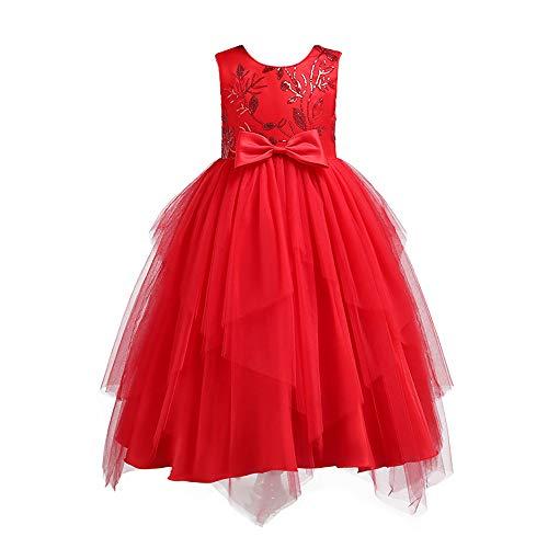 Kostüm Oder Pan Peter Kinder Robin Hood - Lazzboy Karneval Tutu Kleid Kleidung Kind Mädchen Spitze Bowknot Prinzessin Wedding Performance (Höhe 130,Rot)