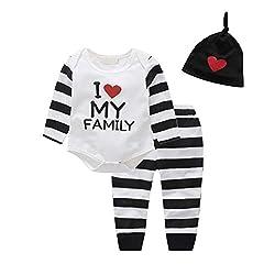 Baywell Baby Boy Clothes Set, Spielanzug Set mit Hosen und Hut (S/70/6-12 Monate, I Love My Family)