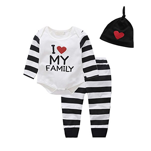 Baby Boy Clothes Set, Baywell Spielanzug Set mit Hosen und Hut (M/80/6-12 Monate, I love my family) (Hosen Set)