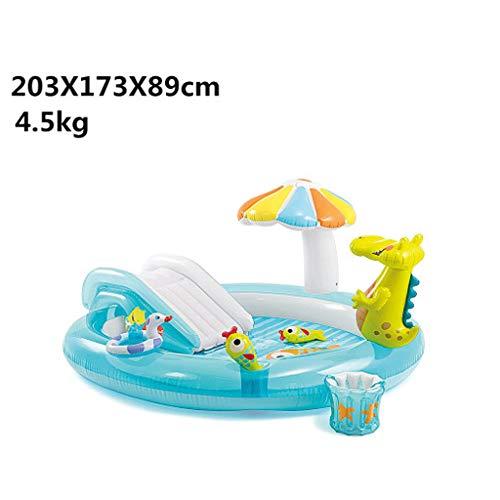 La piscina gonfiabile dei bambini dello scorrevole del dinosauro, lo spruzzo d'acqua domestico del bambino gioca lo stagno di ispessimento dello stagno del gioco