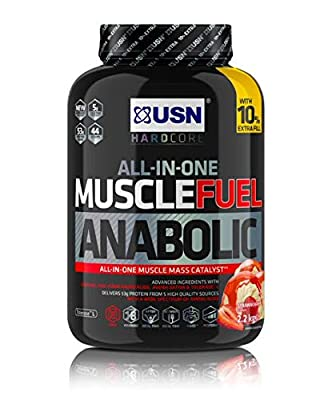 USN Muscle Fuel Anabolic All in one Muscle Building Protein Shake with Creatine, Strawberry, 2.2 Kg, by USN