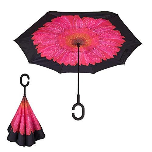 WanNing Parapluie invers/é Double Couche Parapluie Paresseux avec poign/ée en C