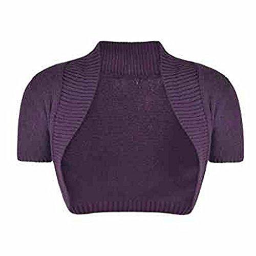 Nouveau Cardigan boléro haussement d'épaules Mesdames Filles Femmes manches courtes Taille S-M-L Age 11-13 Violet