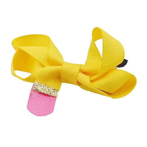 SUNSKYOO Big Hair Bows Boutique Mädchen Clip Grosgrain Ribbon Stirnband Haarschmuck, gelb (Bows Hair 5 Boutique)