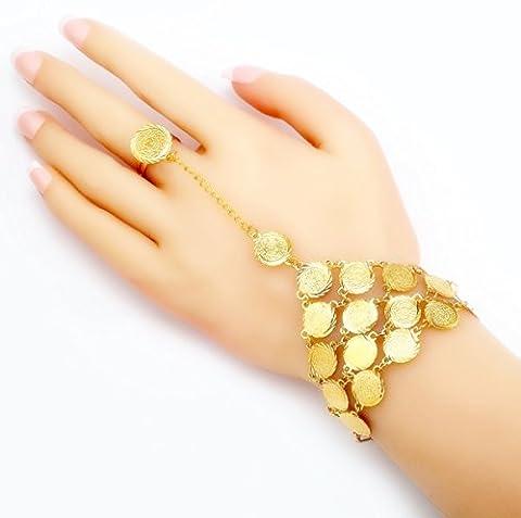 Style victorien Plaqué or 18K pièce de monnaie Bracelet doigt Chaîne à maillons islamique musulman en acier inoxydable pour femme Filles Femme pièce de monnaie Bracelet plaqué or 18K Cadeau pour Femme Allah Art du Coran Sourate Allah islamique Cadeau Sparkling eID El-fitr eID Al-adha Ramadan indiquant Oumra du jour de Arafah eID Al-ghadeer & # X644;, Victorian Coin Finger Bracelet
