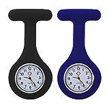 tumundo Schwestern-Uhr Puls Anstecknadel 2er Set Kittel Brosche Silikon-Hülle Quarz Damen-Schmuck Krankenschwester Pfleger-Uhr, Farbe:schwarz + marineblau