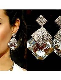 ELECTROPRIME Women Fashion Luxury Sparkling Big Square Rhinestone Pendant Drop Earrings
