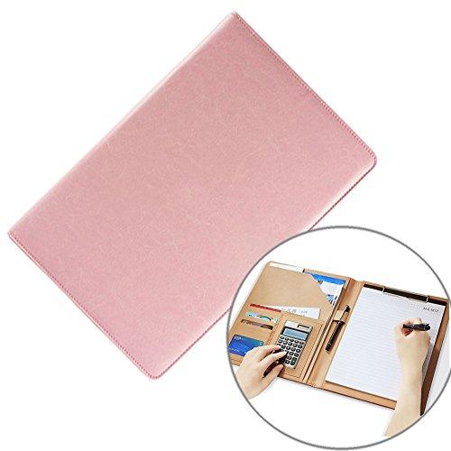 Planchette à pince multifonctionnelle en similicuir, au format A4 - rose