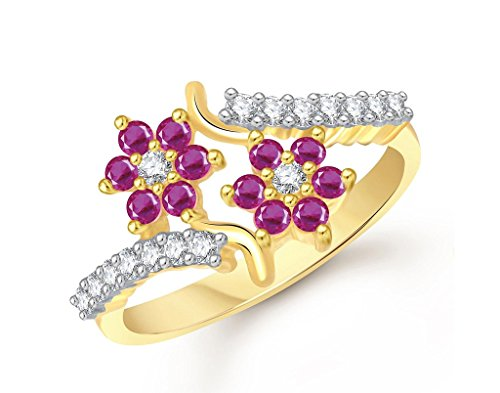 Lady touch Ruby Ring 24K Fancy Flower Party Wear Ring South Indian Traditional Gold Ring For Girls & Women In American Diamond Cubic Zirconia Ring FR328  available at amazon for Rs.199