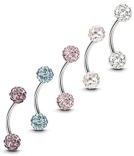 Sailimue 5pcs 16g acciaio inossidabile labbro anelli piercing gioielli sopracciglio bilanciere labret trago piercing 8-10mm bar lunghezza