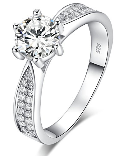 925 Sterling Silver Brilliant Round Cut Crystals Solitaire Promise Forever Eternity Engagement Wedding Rings for women, teenage girls, Size UK with Gift Box, Ideal Gift for Lovers (K)