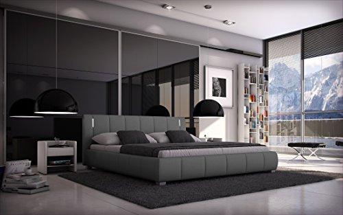 Sedex Bett Luna 180x200 cm inkl. LED Polsterbett Doppelbett Ehebett Hotelbett Designerbett Kunstleder - grau