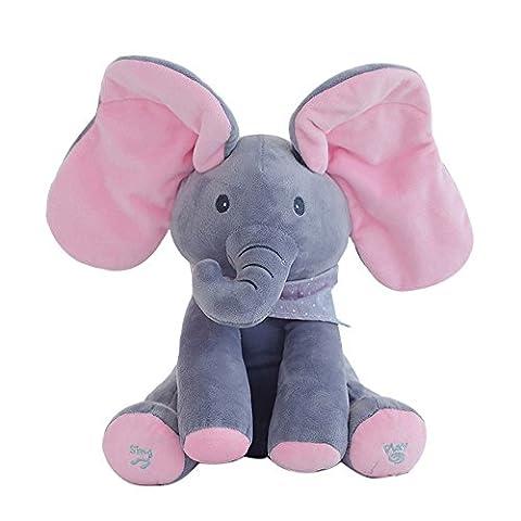 JoyJay Flappy Elephant Baby Soft Plush Toy Singing Stuffed Animated Animal Kid Doll Gift (Pink &