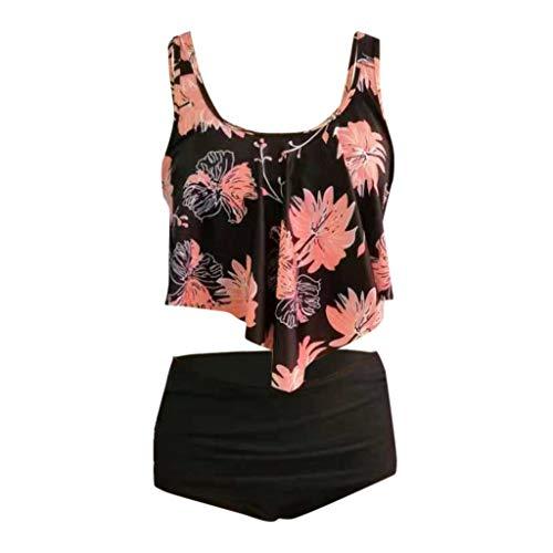 TUDUZ Mujer Tankini De Dos Piezas Bikini Talla Extra Floral Impreso Conjunto De Trajes De Baño Negro.a...