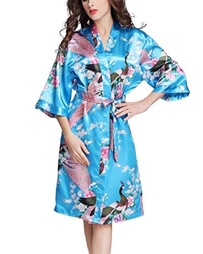 Yanlian Kimono Mujer Bata Satén Batas Adorno Encaje