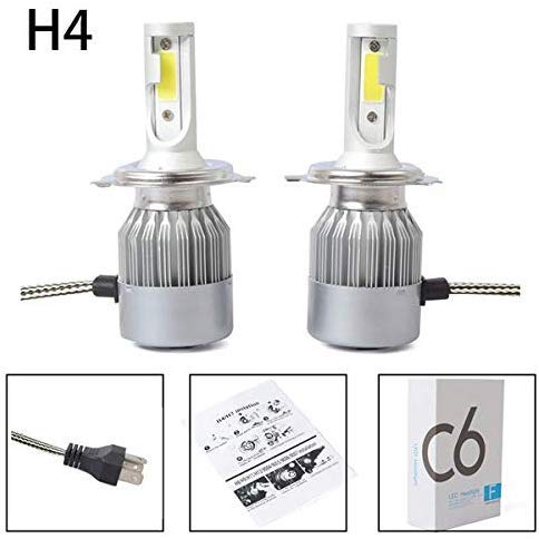 Lampadine LED C6 per fari auto - 2 pezzi COB H4 LED per fari auto, kit di conversione lampadine 36 W 3800 lm, colore bianco