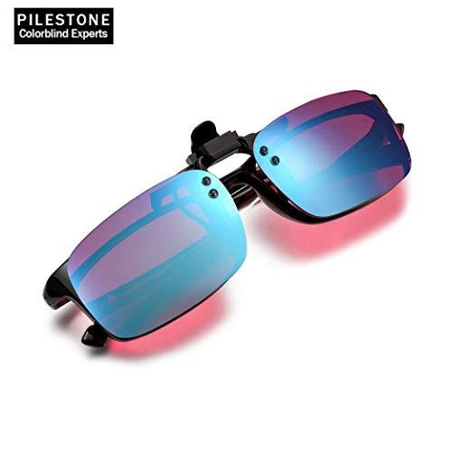 PILESTONE TP-029 (Tipo B) Gafas Daltónicas Correctivas Clip-On para Daltonismo de Color Rojo/Verde - Deután Moderado, Fuerte, Severo (verde) y Protán Moderado, Fuerte (rojo)