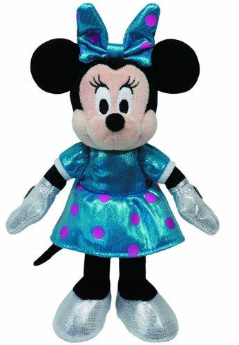 TY 41079 - Disney - Minnie Glitter mit Sound, blaues glitzerndes Kleid und Schleife, 20 cm - Minnie Puppen Maus