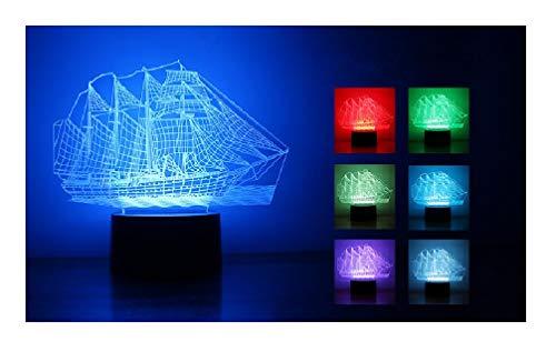 3D optische LED Illusion Lampen, 7 Farbwechsel Acryl Panel Lights LED Tisch Tisch Nacht Licht Weihnachten Spielzeug Geschenk (Segelboot) (Fern-panel)