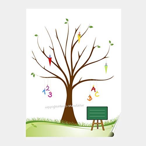 Herzl-Manufaktur Poster Zuckertütenbaum, Partyspiel Fingerabdruckbaum, Schuleinführung, Schulanfang