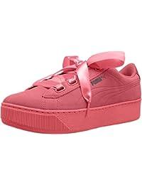 Puma Women's Vikky Platform Ribbon S Shell Pink Leather Sneakers
