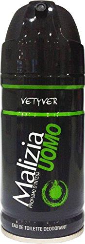 12x MALIZIA UOMO VETYVER deo spray deodorant vetiver Edt eau de toilette 150ml (Malizia Deo Spray)