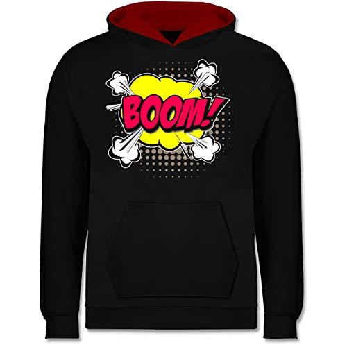 Shirtracer Karneval & Fasching Kinder - Popart Karneval Kostüm Boom! - 9-11 Jahre (140) - Schwarz/Rot - JH003K - Kinder Kontrast ()