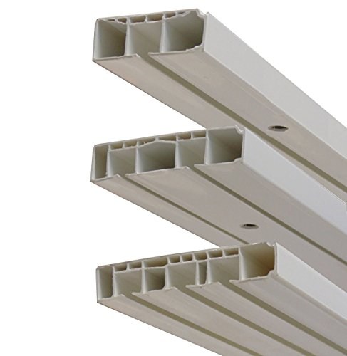 Garduna # 120cm /1-läufig # Kunststoff Gardinenschiene Vorhangschiene, (1-/ 2-/ 3-läufig, Kunststoff, weiss)
