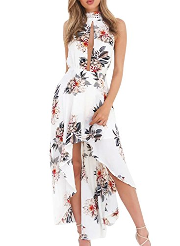 Azbro Women's Halter Backless Floral Printed High Low Dress White